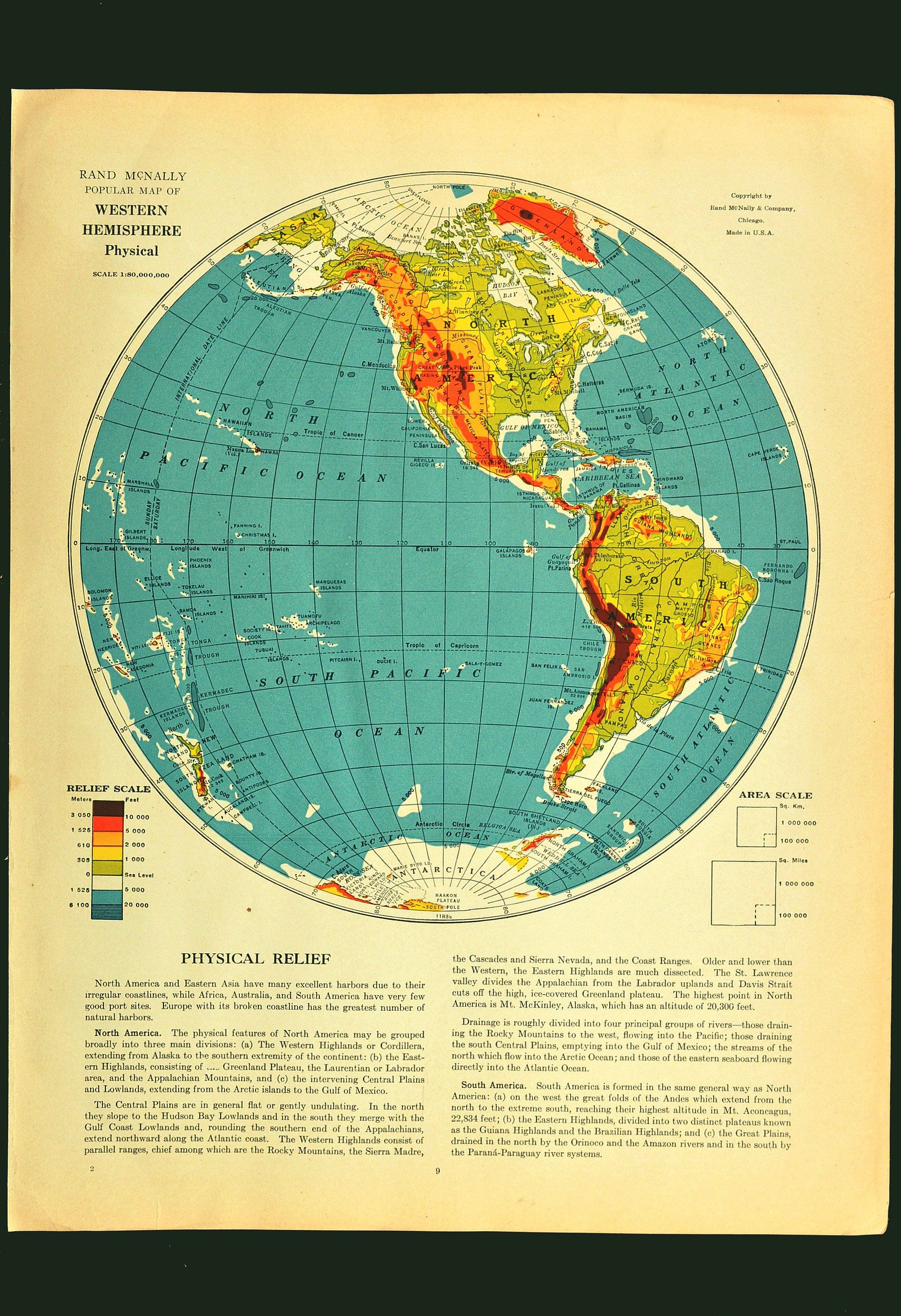 Western Hemisphere Map Of The Western Hemisphere Wall Art