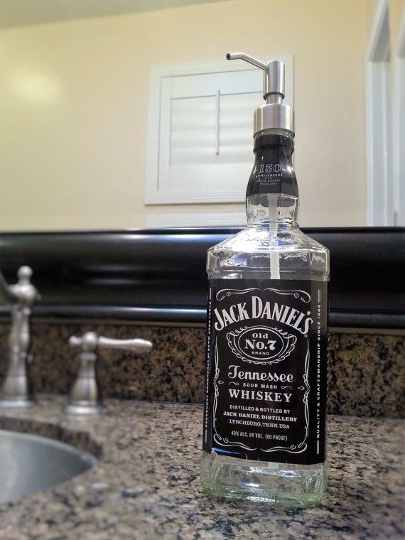 Jack Daniels Whiskey Soap Dispenser Bathroom Decor Glass Soap