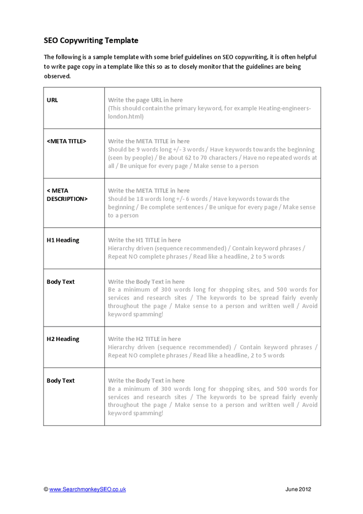 Copywriting examples google search write copy for Copy brief template
