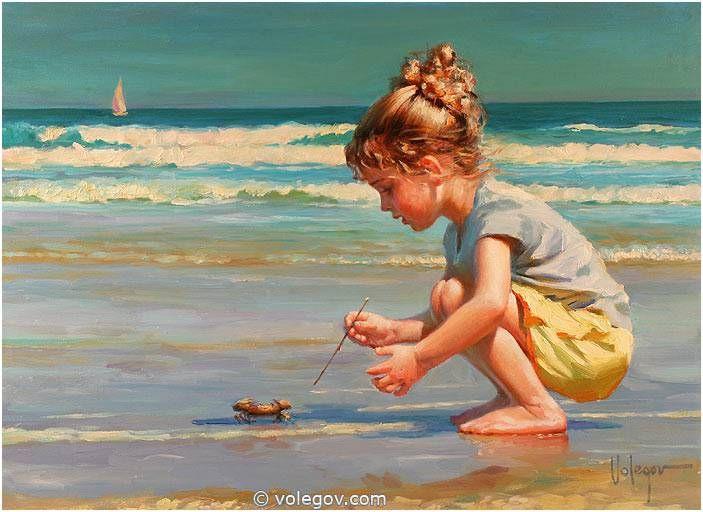 MEETING WITH CRAB - painting, art, beach, seashore, ocean