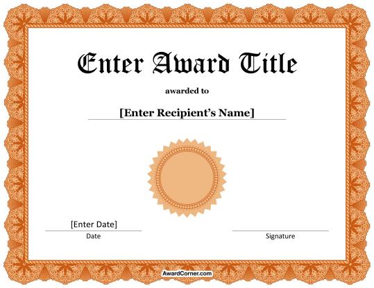Orange award seal certificate for microsoft word download the orange award seal certificate for microsoft word download the certificate in docx format at http yelopaper Images