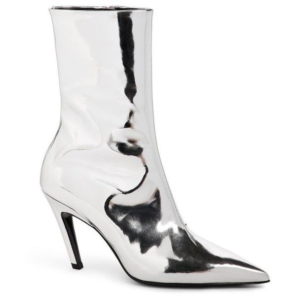 831cf0c23c9 Women's Balenciaga Broken Heel Mid Boot ($855) ❤ liked on Polyvore  featuring shoes, boots, ankle booties, silver, pointy toe ankle boots, pointy  toe boots, ...