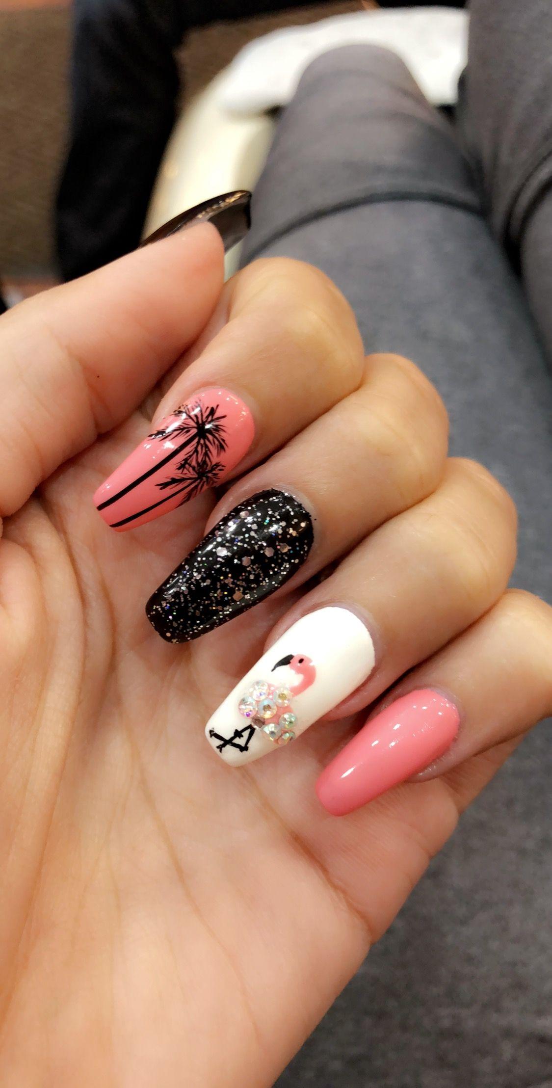 Florida Nails Pink Black Flamingo Palm Trees And Diamond Palm Tree Nails Florida Nails Tree Nails