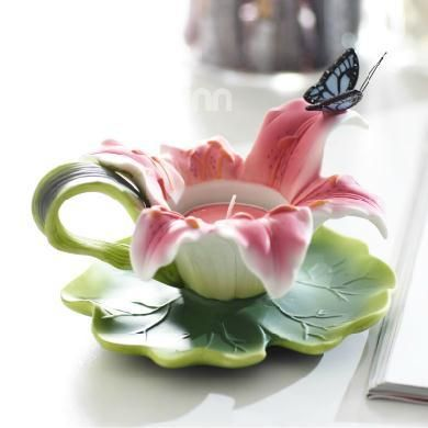Romantic Lily Shape Relief Sculpture Of Butterfly Candle Holder Butterfly Candles Butterfly Candle Holder Ceramic Candle