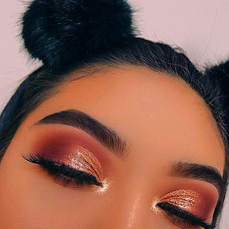 Photo of Glühen Make-up, Kupfer Lidschatten, orange Augen Make-up, orange Atmosphäre – Spitze