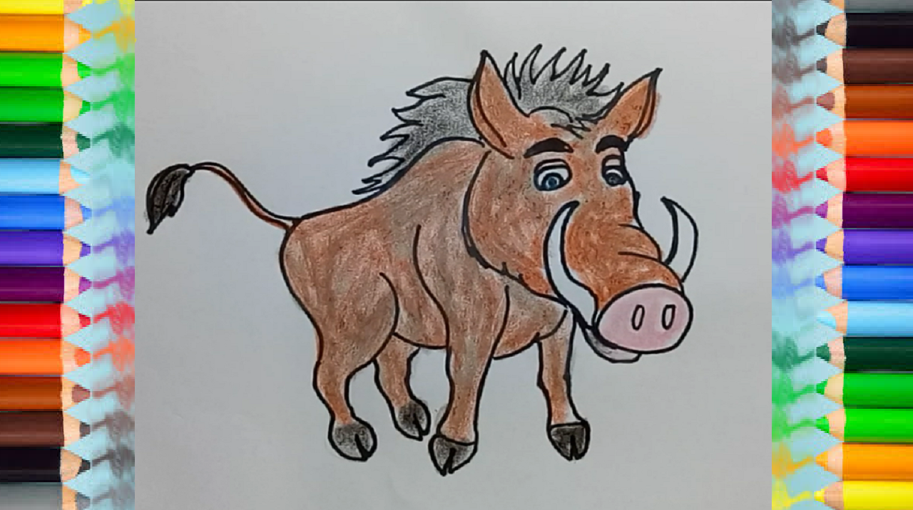 How to draw a wild boar cartoon step by step Easy