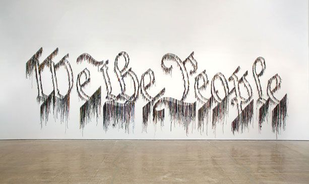"Nari Ward, ""We the People,"" 2011, shoelaces"