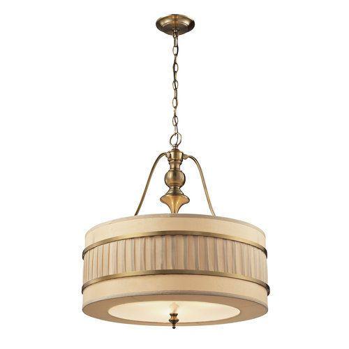Elk Lighting 31387/3 Brushed Antique Brass Luxembourg 3 Light LED Drum Pendant #ElkLighting