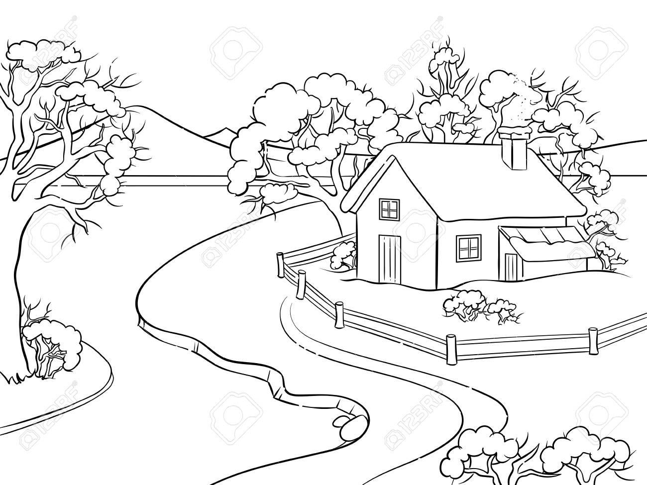 Winter Landscape Coloring Vector Illustration Isolated Image On White Background Comic Book Style Imitation Desenho De Paisagem Natural Vetores Paisagens