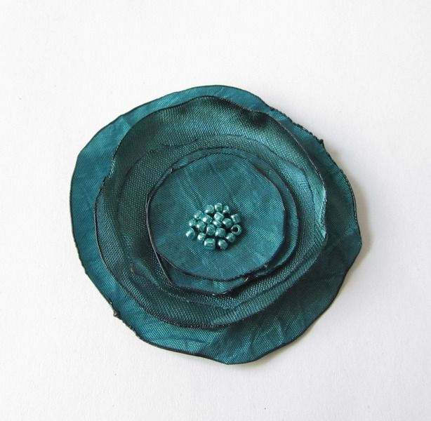 Haarblüte Chrashtaft-Blüte petrol von soschoen auf DaWanda.com