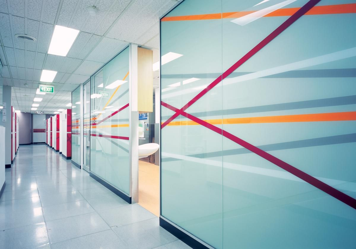 Simple use of colour for Graphics makes a big difference in an office corridor