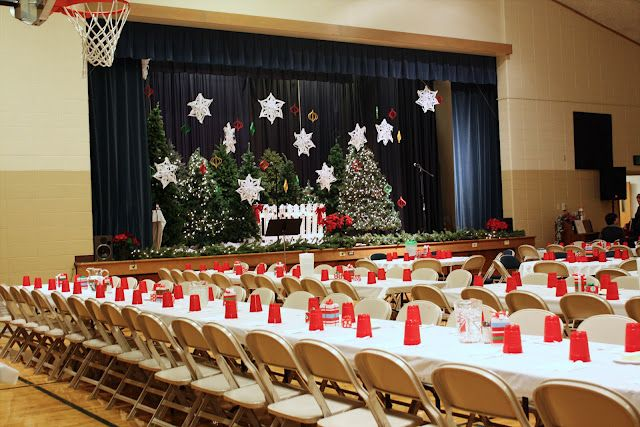 Christmas tree forest stage backdrop.