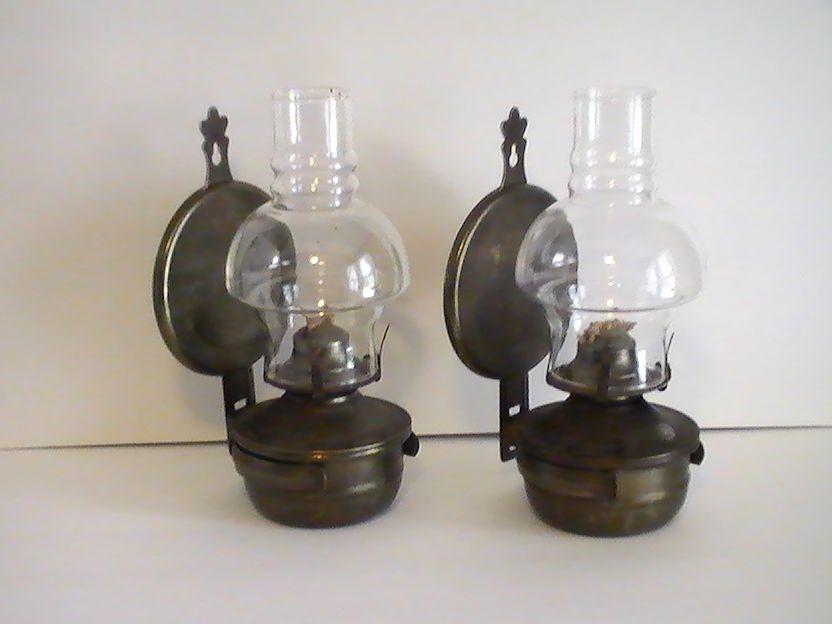 Oil Lamp Vintage Rustic Metal Wall Mounted Set of 2 | Oil ...
