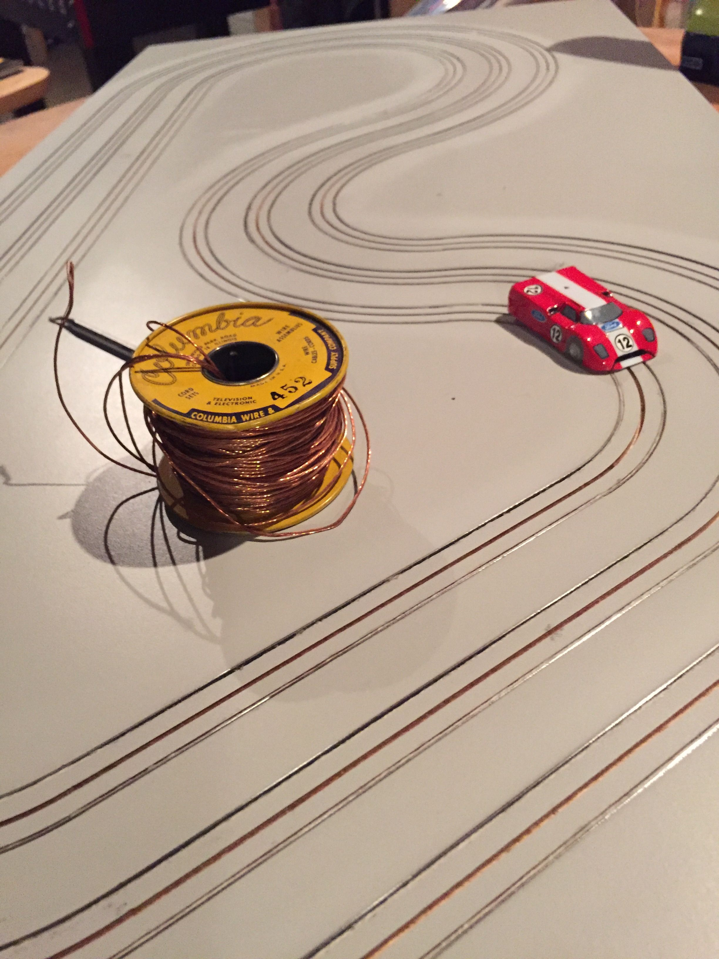 hight resolution of ho routed slot car track finishing up