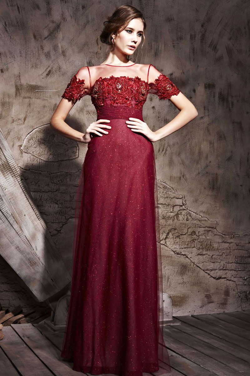 Tulle Short Sleeves Lace Applique Modest Red Evening Prom Gowns For ...