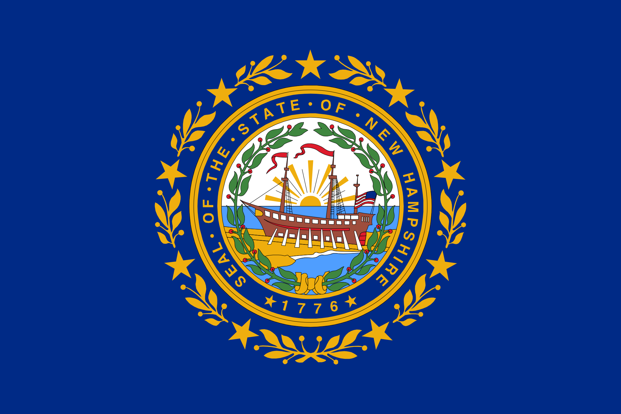 Flag And Seal Of New Hampshire State Flags New Hampshire Hampshire