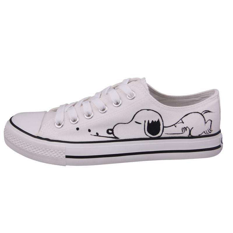 f9fbf3a70fdbf2 Snoopy hand-painted canvas low   high top sneakers ~ 5 designs ...