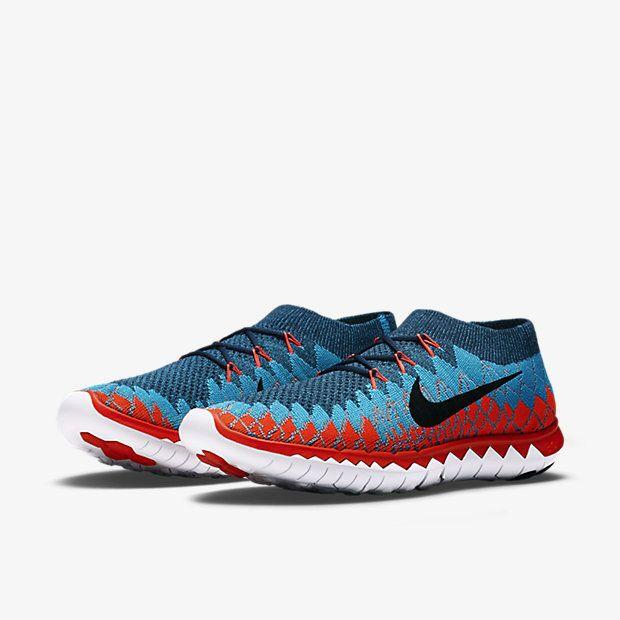 1457f62775 Nike Free 3.0 Flyknit Squadron Blue Chlorine Blue Bright Crimson Black  636232 401