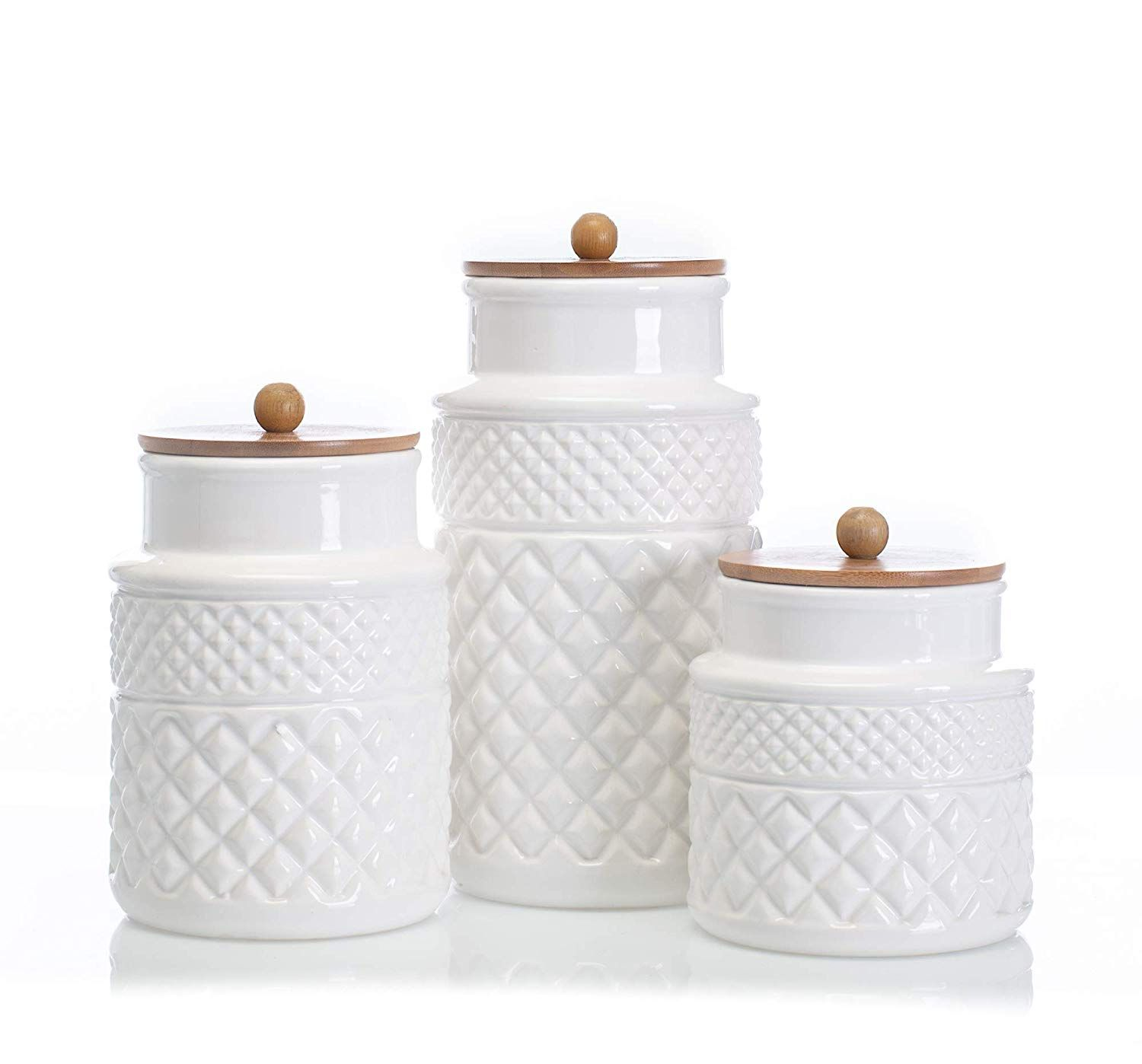 Faceted Classic White 11 X 5 Glossy Ceramic Storage Canisters Set Of 3 More Info Could Be Found At The Image Canister Sets Storage Canisters Food Canisters