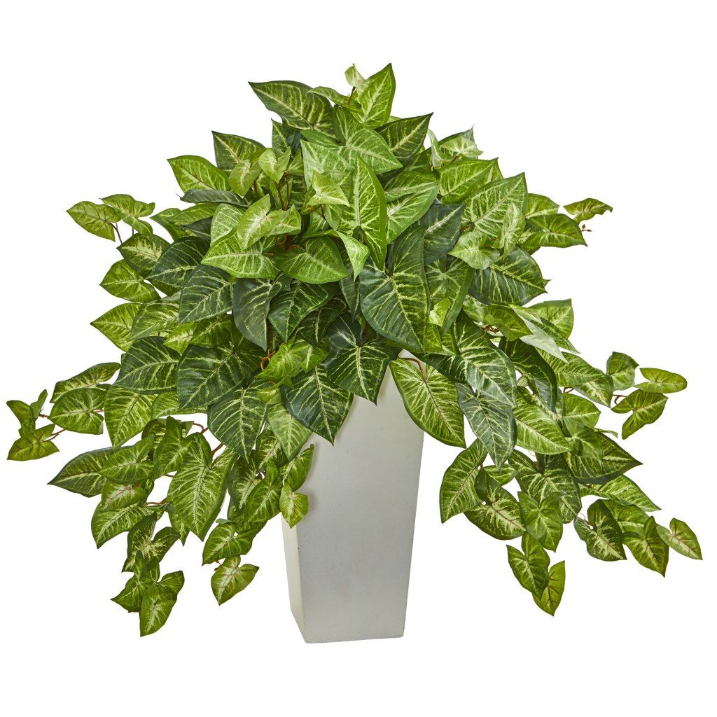 Nephthytis artificial plant in white tower planter faux plants