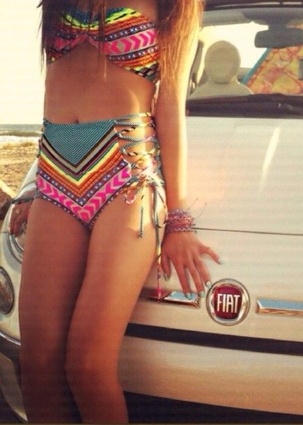 ea630ae1b5fbb swimwear tribal bathing suit cute vintage bright rainbow bikini string  bikini hippie high waisted bikini colorful bikini