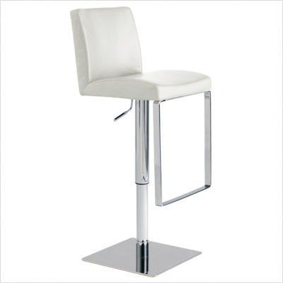 Matteo Stool Color: White by Nuevo. $315.00. Leather upholstered seat and back. Chromed hydraulic cylinder gas lift. Contemporary style. Adjustable seat height. Color: White. HGAF120 Color: White Features: -Material: Leather. Dimensions: -Matteo 42'' dimensions: 42'' H x 18.5'' W x 16.25'' D.-Matteo 32'' dimensions: 32'' H x 18.5'' W x 16.25'' D.