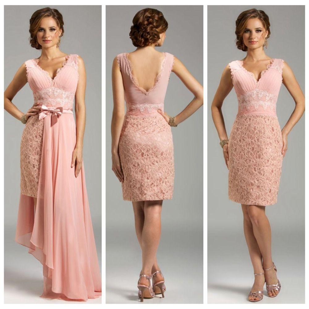 elegante vestido v hals weiches rote kurze spitze abendkleider