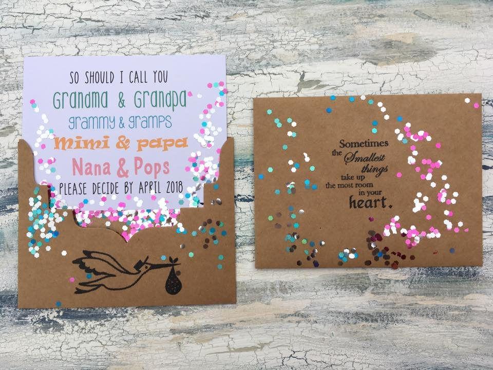 Pregnancy Reveal to grandparents card custom pregnancy – Custom Baby Announcements