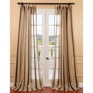 Carlton Taupe Linen Blend Stripe Sheer Curtain Panel