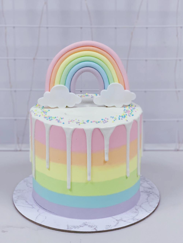 Pastel Rainbow Drip Cake With Rainbow Topper Rainbow Birthday Cake Pastel Rainbow Cake Drip Cakes