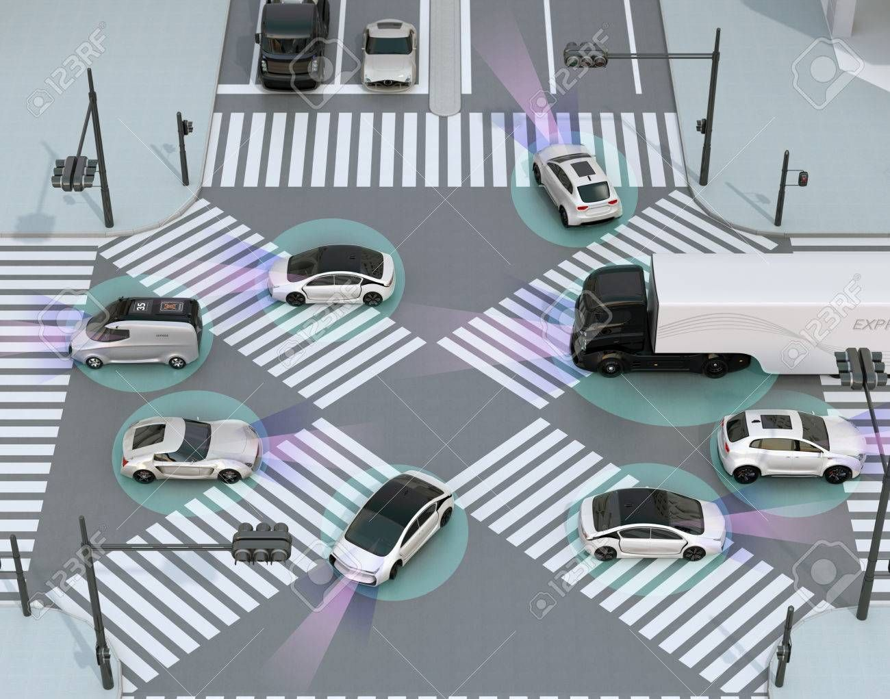 Smooth traffic in crossroad. Concept for advantage