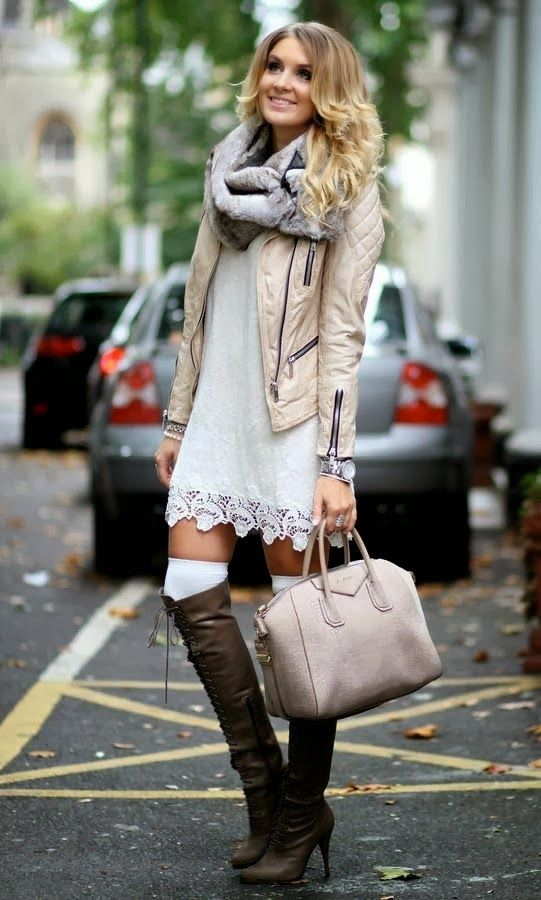 See More Trendy Fall Outfit With Cozy Scarf And Leather