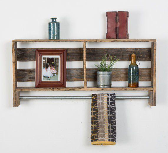 Reclaimed Wood Towel Holder Bathroom Wood Shelves Shelves Barn Wood