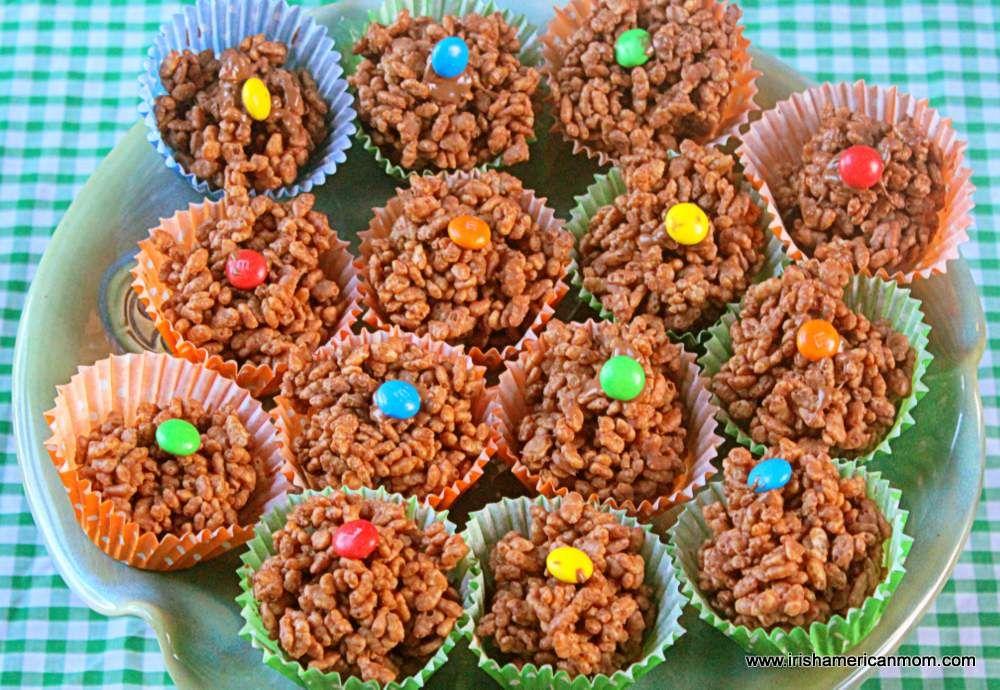 Irish Rice Krispie Buns | Irish American Mom | Chocolate rice krispie  treats, Rice krispies, Irish recipes
