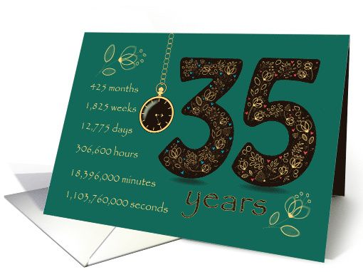 22nd Wedding Anniversary Gift Ideas: 35 Years Recovery Anniversary. Floral Number 35. Time