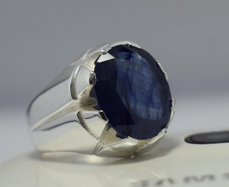 Blue Sapphire Ring Mens Natural Sapphire Stone Real Gemstone Etsy Blue Sapphire Rings Natural Blue Sapphire Ring Rings For Men