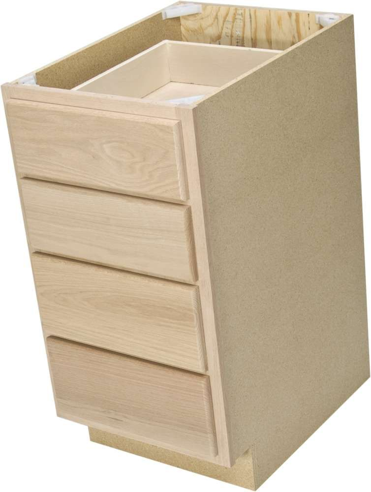 Quality One Woodwork Db15 15 In Unfinished Oak 4 Drawer Base