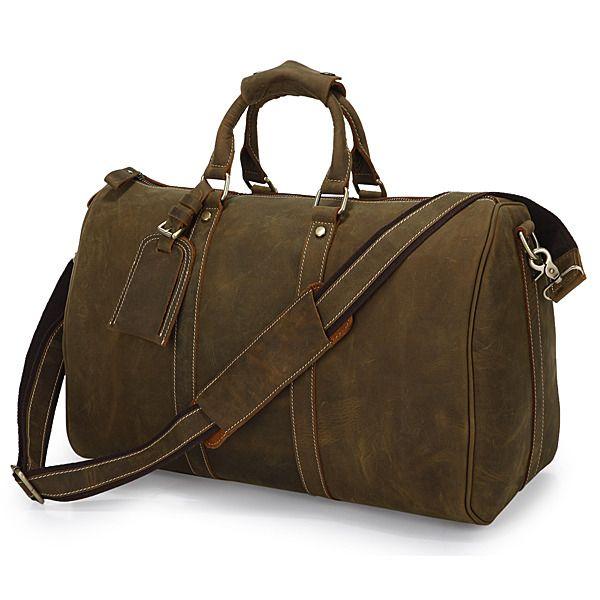 """20/"""" Vintage Genuine Leather Handmade Duffel Luggage Weekend Shoulder Travel Bag"""