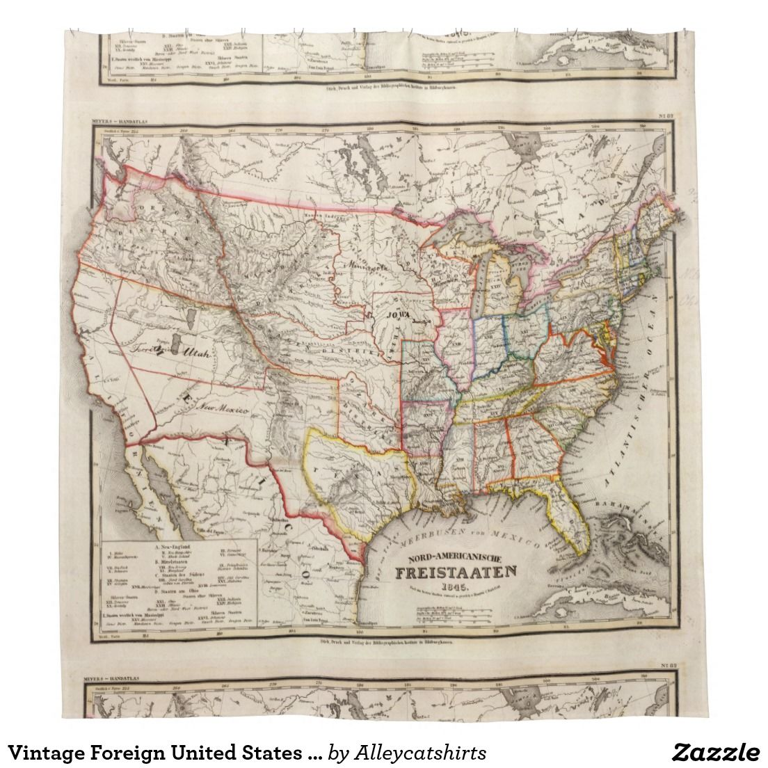 Vintage Foreign United States Map (1845) Shower Curtain ... on united states map bodies of water, united states map 1860, united states map southeast usa, united states canada mexico, united states map 1800, united states map 1836, united states map grade 1, united states map 1846, united states political map 2012, united states declares war on mexico, united states map 1865, united states map 1848, united states map 1820, united states map 1812, united states map 1823, united states map 1821, united states map 1830, united states political map with cities, united states map 1850, united states map 1847,