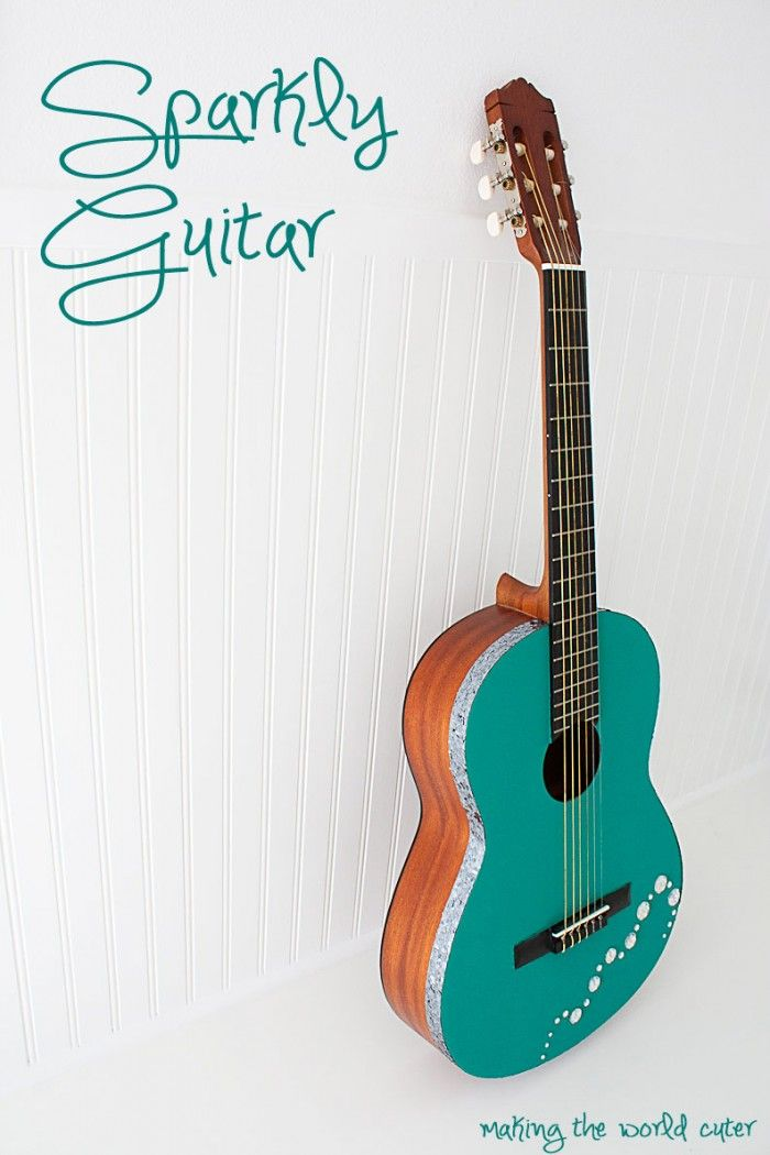 Diy sparkly guitar bling guitar learn how to paint and for Acoustic guitar decoration ideas