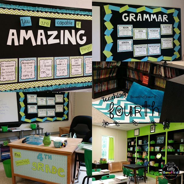 Teaching Fourth: Cute, colorful, green and blue classroom decorating ideas. Classroom reveal 2016.