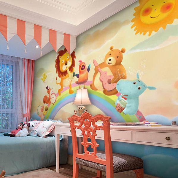 Customized Wallpaper -- Rainbow Concert -- $5/sqft -- #nursery #baby #kidsroom #decor #wallpaper #home #designideas #design