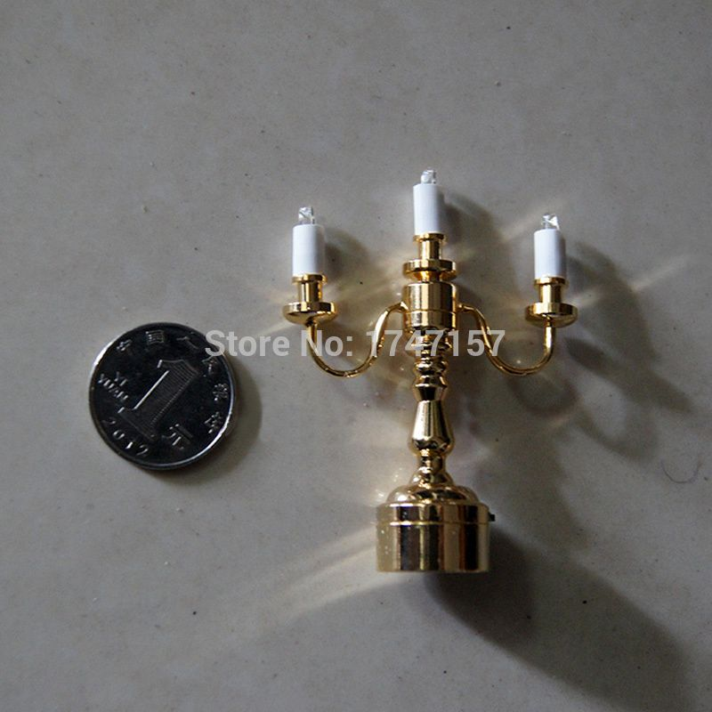 Mini 1/12 Scale Doll House Candlestick Dollhouse Miniature LED Lamp ...
