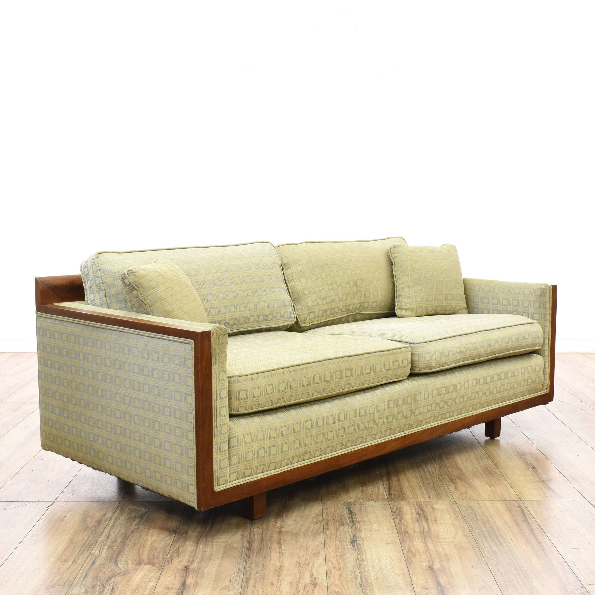 Mid Century Modern Wood Frame Sofa Couch  Loveseat Is