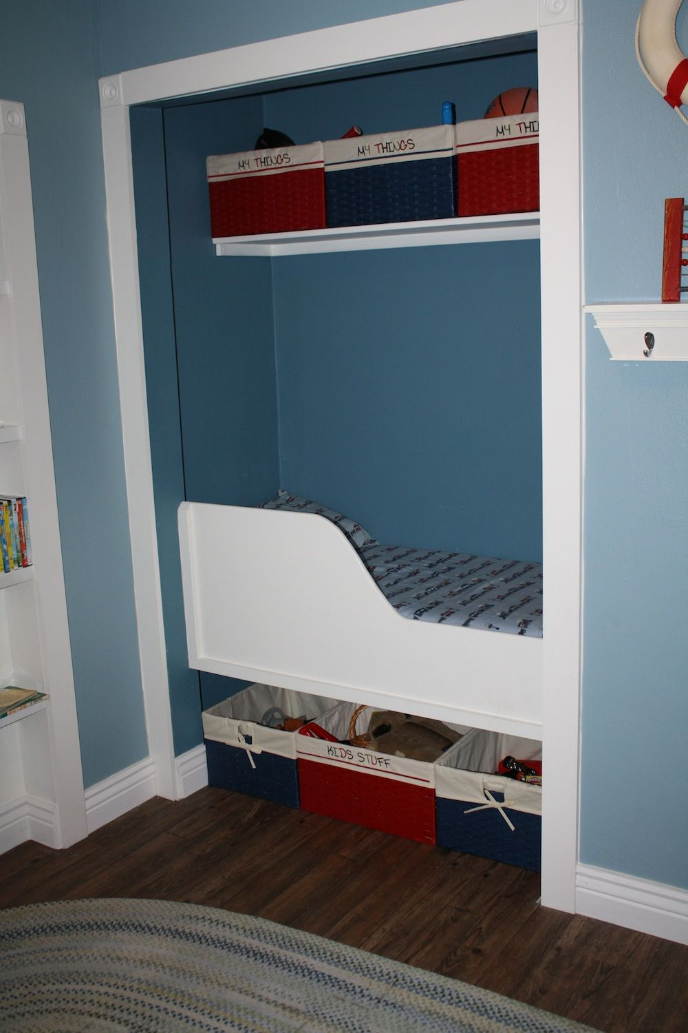 Bedroom Too Small For A Bed Turn A Closet Into A Built In Bed Awesome Fort For A Little Boy Kids Room Bed Storage Kids Room Tiny Bedroom