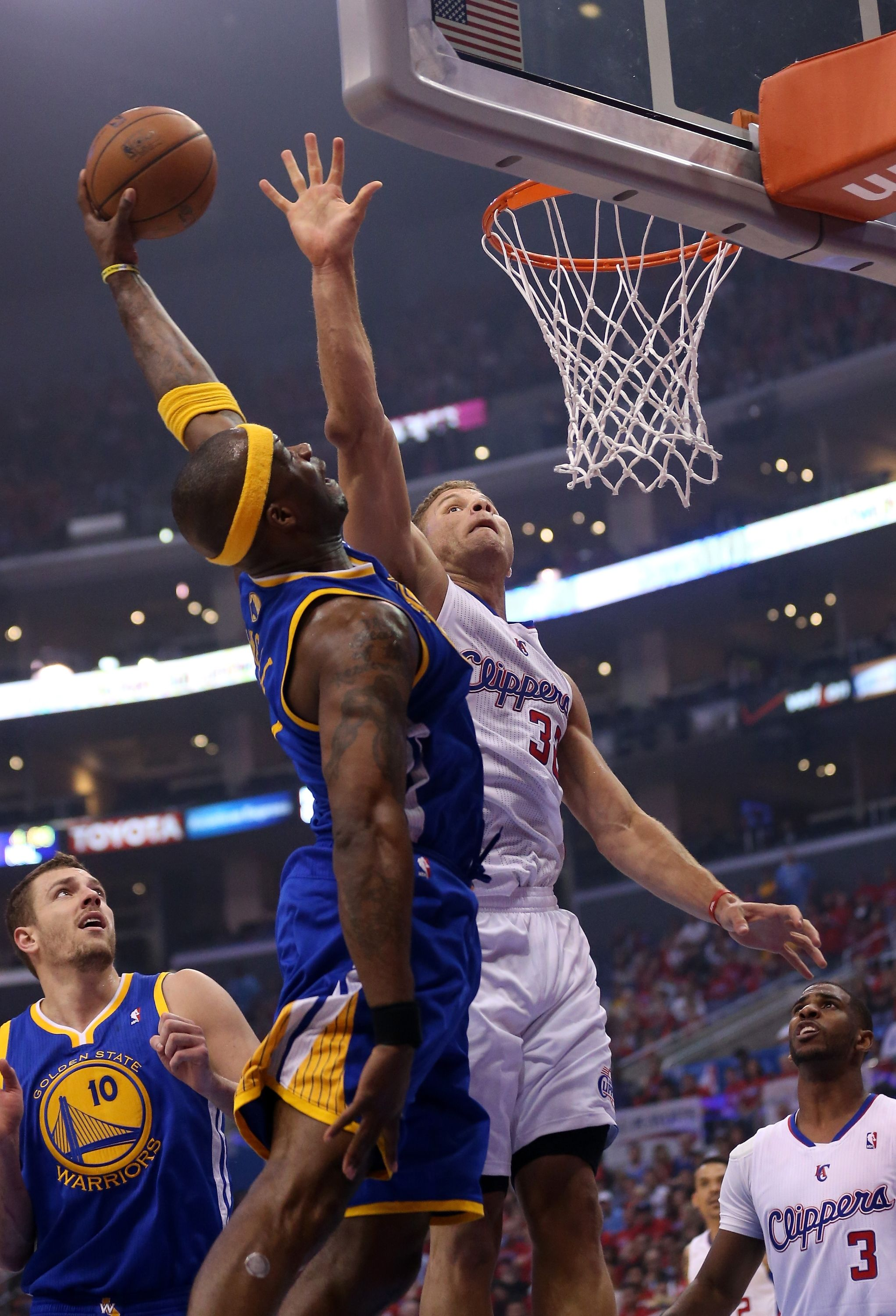 Los Angeles Ca April 19 Jermaine O Neal 7 Of The Golden State Warriors Goes Up For A Shot Again Jermaine O Neal Golden State Warriors Los Angeles Clippers