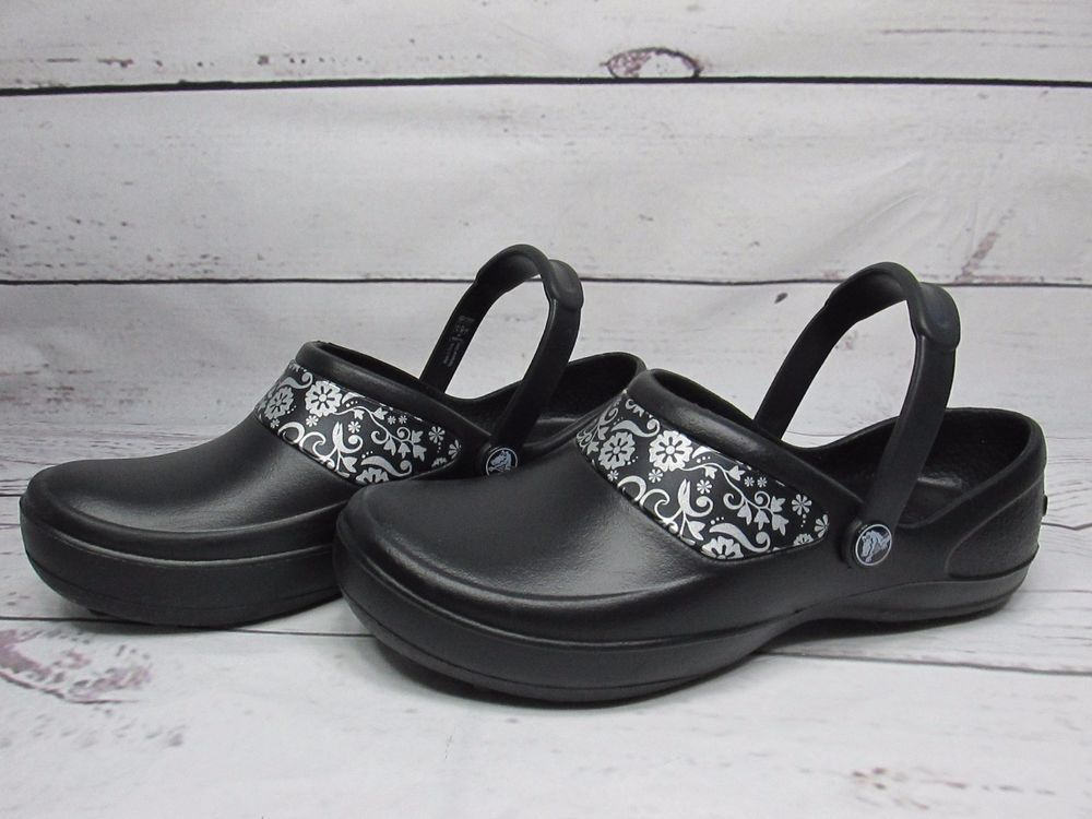 7e5b5a86c5175 CROCS MERCY WORK CLOGS WOMEN S SIZE 8 Wide Floral Black Silver SLIP  RESISTANT  Crocs  Clogs