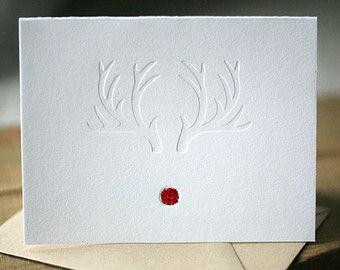 Letterpress Weihnachtskarten - Red-Nosed Weihnachtskarten