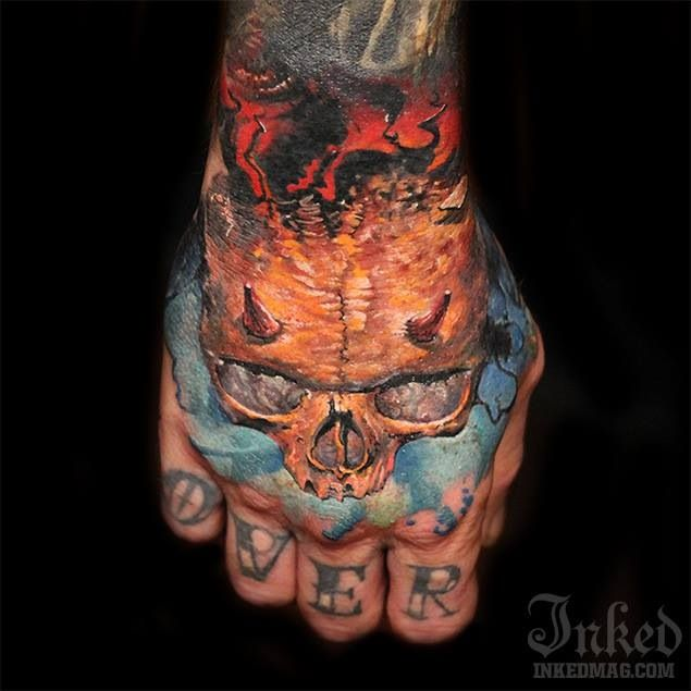 Sweet hand tattoo skull love tattoo love pinterest for Skull love tattoos