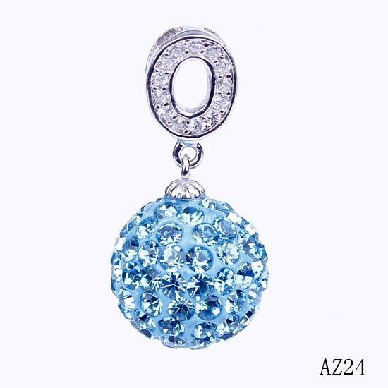 $2.78 29x15mm Sea Blue 925 Sterling Silver Shining Delicate Rhinestone Crystal Pendant
